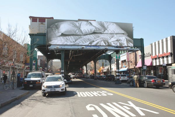 Untitled, 1991, billboard, dimensions vary with installation. 31st Street near Ditmars Boulevard, Queens, NY. 1 of 6 outdoor billboard locations on display throughout New York, with 1 indoor location, as part of the exhibition Print/Out. The Museum of Modern Art (MoMA), New York, NY. 19 Feb. – 14 May 2012. Cur. Christopher Cherix. Photographer: David Allison. – Felix Gonzalez-Torres. Courtesy of the Felix Gonzalez-Torres Foundation.