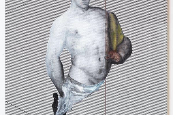 R. H. Quaytman, Wiertz's Revolt, Chapter 0 , 2021, olie, zeefdrukinkt, gesso op hout, 133 x 215,3 cm. – © R. H. Quaytman, courtesy de kunstenaar en Gladstone Gallery, New York en Brussel, fotograaf David Regen