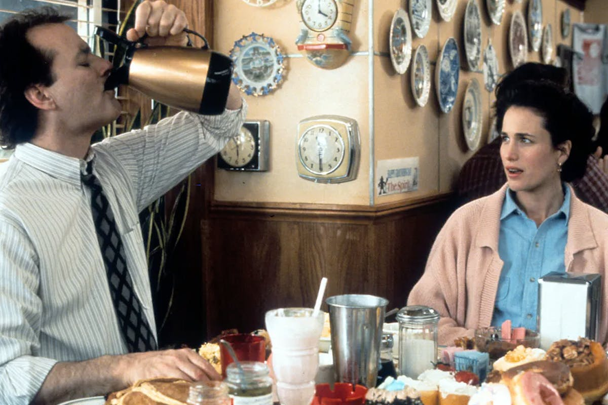 Bill Murray and Andie MacDowell in a scene from the film Groundhog Day (c) Columbia Pictures/Getty Images