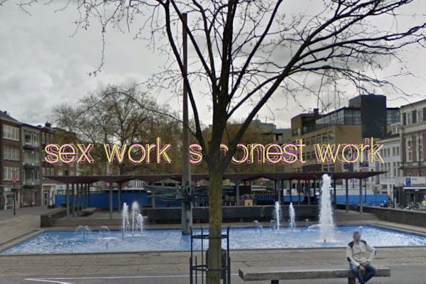Sketch voor Sex Work Is Honest Work , 2021, een installatie door Olu Oguibe in opdracht van sonsbeek 20→24, beeld met dank aan de kunstenaar