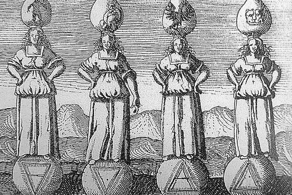 Illustratie uit Viridarium Chymicum, Daniel Stolciusde Stolzenberg, 1624, met van links naar rechts, de 4 elementen: Aarde, Water, Wind en Vuur