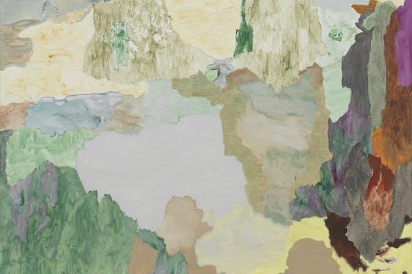 Andreas Eriksson, Rastrum , 2020, acrylverf, olieverf en ei-olie tempera op doek, doek 185x120 cm, kader 188,5x123,5x4,5cm. – Courtesy de kunstenaar en neugerriemschneider, Berlin, © Andreas Eriksson, foto Studio Andreas Eriksson