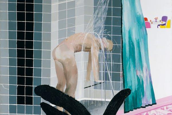David Hockney, Man in Shower in Beverly Hills , 1964, acrylverf op doek, 167,3x167cm. – Tate: Aankoop 1980, © David Hockney